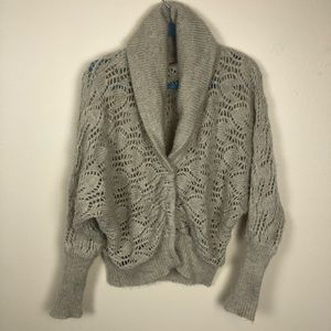 Free People tan snap closure cardigan size small